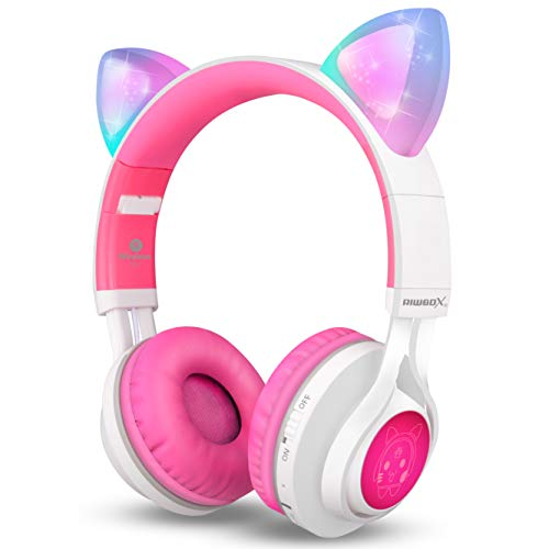 Cuffie bluetooth, Riwbox ct-7 Cat orecchio LED light up wireless pieghevole cuffie over Ear con microfono e controllo del volume per iPhone/iPad/Smartphone/laptop/PC/TV White&Pink