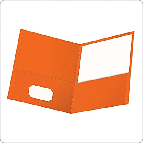 Twin-Pocket Portfolio, Embossed Leather Grain Paper, Orange