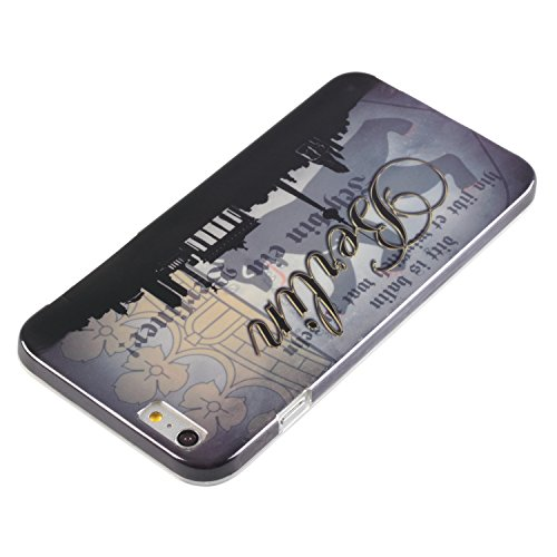 "deinPhone Apple iPhone 6 6S Plus (5.5"") KUNSTLEDER FLIP CASE Hülle Tasche Eulen Happy Family Berlin Skyline"