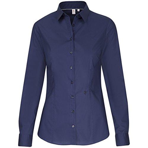 Seidensticker Damen Hemdbluse Slim Fit Langarm Hemdblusenkragen Stretch (Stretch-popeline Bluse Damen)