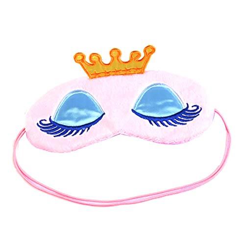 Demarkt Karikatur Blackout-Brille Schlafmaske Plüsch Augenmaske Für Schlaf Reisen Atmungsaktive Eyeshade für schlafende Mädchen Frauen Kinder Size 16 * 9cm (Pink)