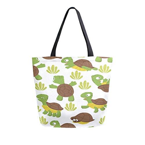 Schildkröte Nette Lustige Tier Tragbare Große Doppelseitige Casual Leinwand Tragetaschen Handtasche Schulter Wiederverwendbare Einkaufstaschen Reisetasche Für Frauen Männer Lebensmittelgeschäft Reise