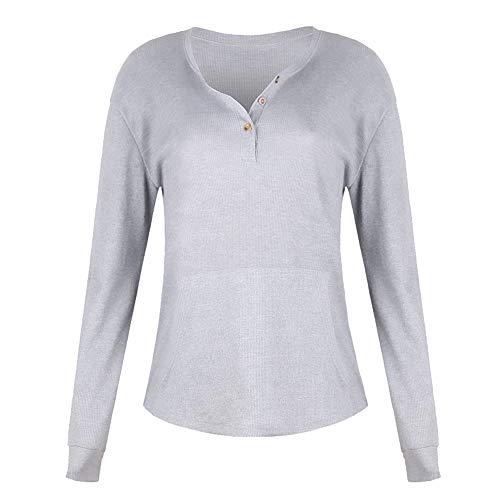 Dawwoti Frauen Spitzen Langarm-Swing-Bluse für Damen Rib Blusen -