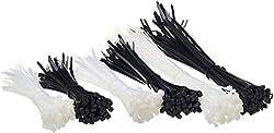 AmazonBasics - Selbst-schließende Nylon-Kabelbinder - 15 cm, 20 cm und 30 cm - Schwarz und weiß