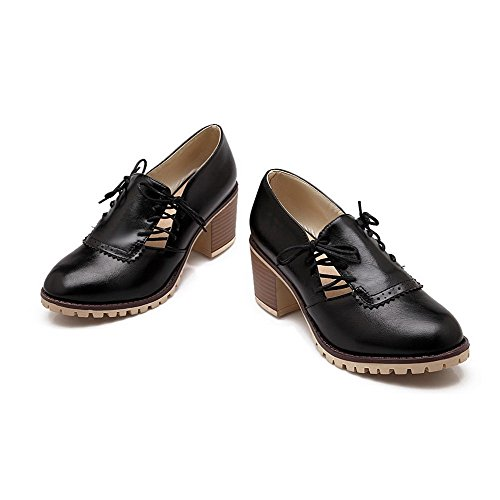 AgooLar Femme à Talon Correct Matière Souple Couleur Unie Lacet Rond Chaussures Légeres Noir