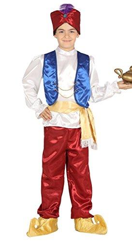 Genie Für Jungen Kostüm - Arabischer Wüsten Junge Dieb Wunderlampe Kostüm Karneval Fasching Orient Dschinn Gr. 110 - 146, Größe:122/128