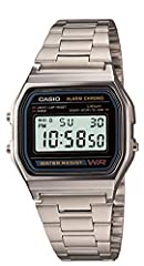 Idea Regalo - Casio Vintage A158WA-1CR - Orologio da Polso Digitale, Argento