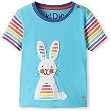 0bb93e750 kIDio Camiseta Turquesa de algodón orgánico - Aplique de Conejo - Niña ...