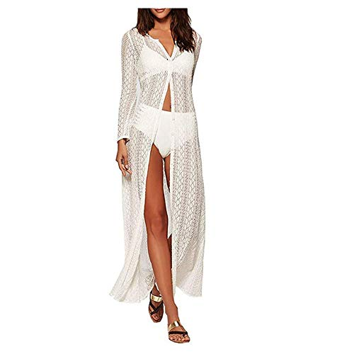 Sheer Cover-up (Hnks Bikini-Bluse Frauen Kimono Cardigan Badeanzug Lange Cover Up Kleid Bikini Beachwear Badeanzug Bademode Coverups Langarm Sheer Häkelspitze Strand Maxi Kleid (Farbe : Weiß, Größe : Einheitsgröße))