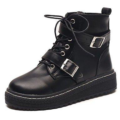 Rtry Femmes Chaussures En Caoutchouc Automne Retour Bottes De Combat Bas Talon Bout Rond Bottes À Lacets Pour Extérieur Noir Noir Us8 / Eu39 / Uk6 / Cn39 Us8.5 / Eu39 / Uk6.5 / Cn40