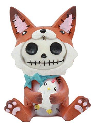 Huhn Kostüm Cat - Ebros Furry Bones Fen Fen der Fox Skelett Statue 6,3cm Hoch Furrybones Fen Rot Fox mit Huhn Puppe Kostüm mit Kapuze Totenkopf Monster Sammlerstück Skulptur Dekorative Spielzeug