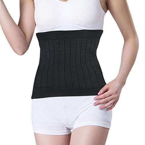 FakeFace Unisex Warm Weich Kaschmir Taille Wärmer Nieren Binder unterstützt dehnbar Thermo Bund Bauch Erwärmung Displayschutzfolie Wrap Bandage Band, schwarz -