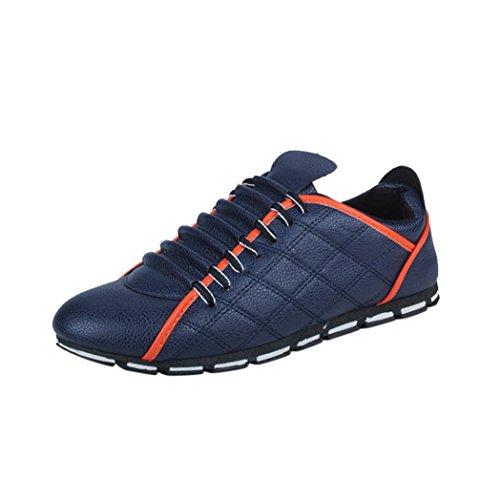 Mode Sportschuhe Herren,Herren Low-Top Moderne Lässige Herren Sneaker Fashion Men Casual Leder Bequeme Breathable Turnschuhe Flache Schuhe (EU:43/CN:44, Blau)