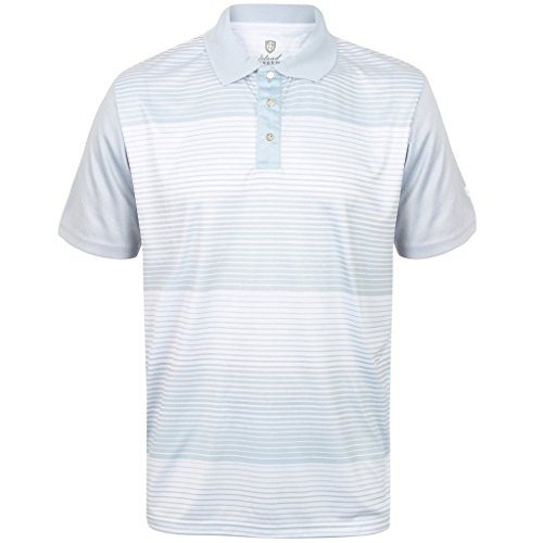 """NEW 2017"" ISLAND GREEN MINI STRIPE CoolPass® MENS GOLF PERFORMANCE POLO SHIRT (Silver/Grey, Large)"