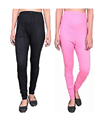 832ed5b9b3fe76 76%off Krystle Womens Girls Cotton Black and Light Pink Legging (Pack of 2)