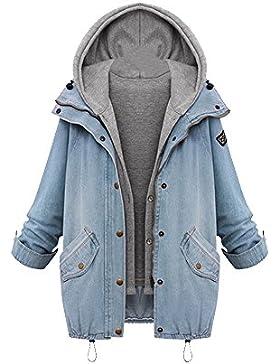 OCHENTA Mujeres Abrigo Outwear Blazers Tops Capa Manga Larga Chamarra Doble Denim Otoño Invierno Capucha Coat...
