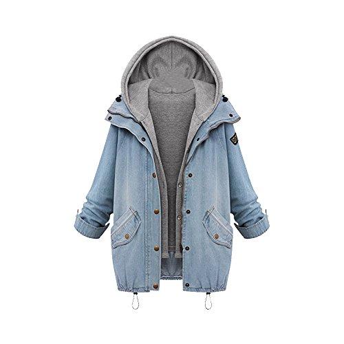 Damen Übergangsjacke Blazer Jeansjacke Parka Deinm Jeans Freizeitjacke Herbst Schick Langarmshirt Asien XL-EU M(EU 38)