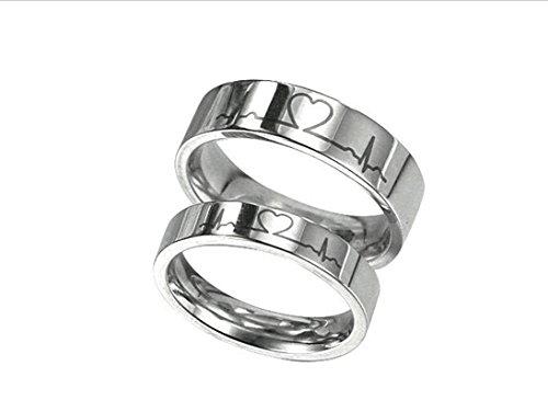 ANAZOZ Paar Ringe Edelstahl Herzschlag Muster Freundschaftsringe Verlobungsring Oval Silber Partnerringe Auf Rechnung für Damen und Herren 62 (19.7)