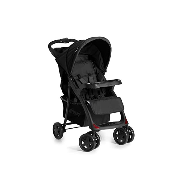 Hauck Shopper Neo II One Hand Fold 4 Wheel Pushchair with Raincover, Black, From Birth to 15 Kg Hauck Fold in seconds with one hand Comfortable seat with lying position and adjustable footrest Includes 2 practical bottle trays 3