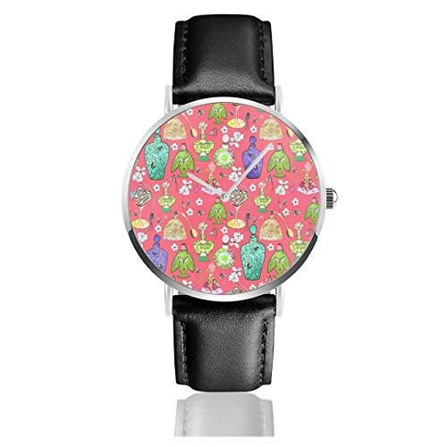 Armbanduhr Quarzuhr Zerstäuber helle Casual Uhren für Männer Frauen Damen mit schwarzem Leder - Leder-zerstäuber