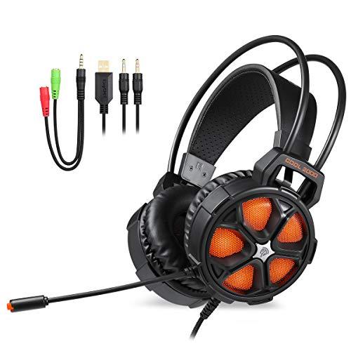 qka cuffie da gioco con microfono per nintendo switch [unità altoparlante da 50 mm] cuffie per pc con led light, zero ear pressure compatibili con laptop/mac/psp/xbox one,orange