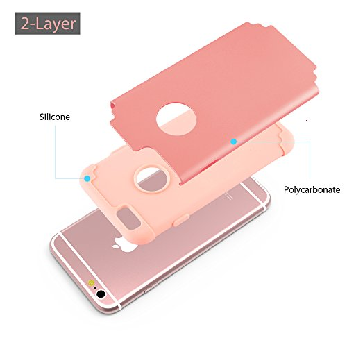 iPhone 7 Plus Cases, Case Cover duplice ibrido per iPhone 7 Plus 5,5 Plus pollici. Cover duro per iPhone 7 Plus PC+ Silicone ibrido impatto grande Difensore custodia Combo duro morbido Cases Covers,Ne Rosa-iPhone 6/6S