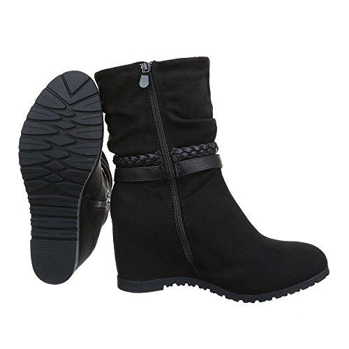 Damen Schuhe Keilabsatz Klassischer Stiefel Reißverschluss High Heel Stiefel Stiefel Keilabsatz/ Wedge Schwarz