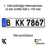 1 Fahrradträger-Kennzeichen DIN-zertfiziert für Deutschland