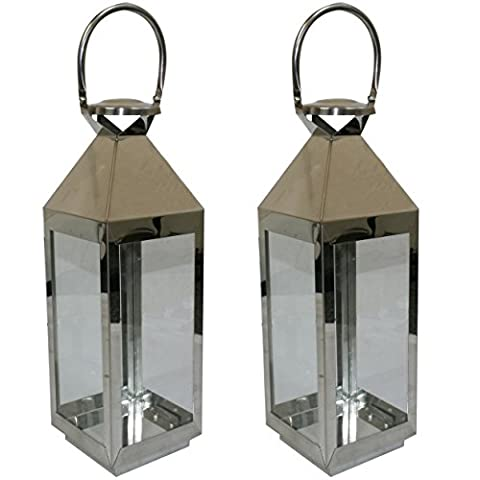 JVL Pair of Stainless Steel Hampton Indoor/ Outdoor Candle Light Lanterns, 55 x 16 x 15cm