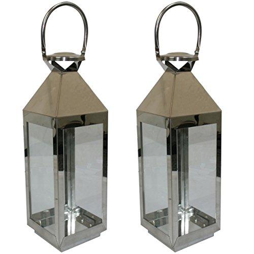 Outdoor Candle Lights Pillar lantern outdoor lights amazon jvl pair of stainless steel hampton indoor outdoor candle light lanterns 55 x 16 x 15cm workwithnaturefo