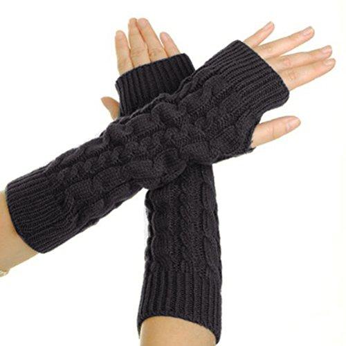 Tinksky Paar Armwärmer Fingerlose Strickhandschuhe (Dunkelgrau)
