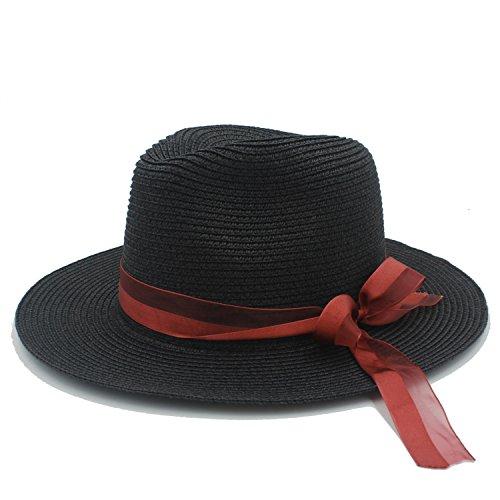 Stroh Boater Kostüm - HYF Stroh Sonnenhüte Frauen Mit Pamelas Sombreros Bodas Damenkostüm Sommer Strandhüte (Farbe : 3, Größe : 56-58cm)