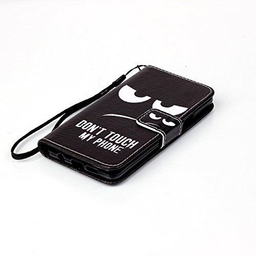 "Ooboom® iPhone 7 4.7"" Hülle Flip PU Leder Schutzhülle Handy Tasche Case Cover Wallet Standfunktion mit Kartenfächer Trageschlaufe - Eule Don't Touch My Phone"