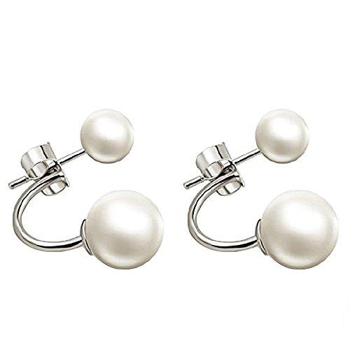 1 paio di orecchini di cristallo in 100% 925 argento Orecchino con 2 palle di Shamballa perla donne moderne eleganti gioielli (stile-2)