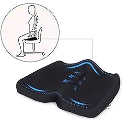 MARNUR Sitzkissen Memory Schaum Steissbeinkissen aus mit ergonomischem Design atmungsaktivem Mesh-Bezug Druckentlastend und schmerzlindernd bei Ischias Steißbein Rückenschmerzen