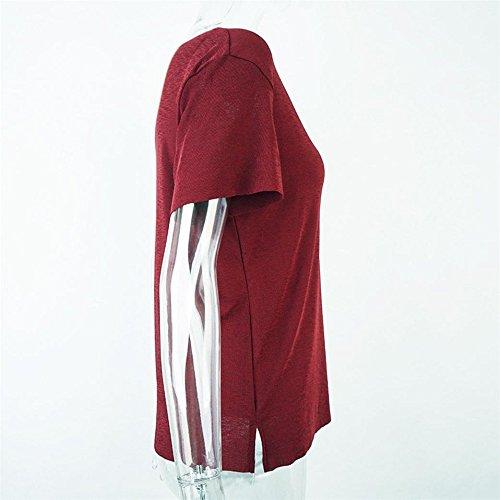 Longra Donna Maglietta a maniche corte donna a maniche corte Vino Rosso