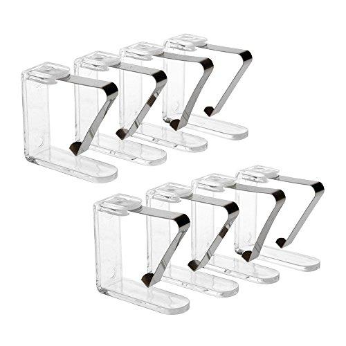 8er Set Tischtuchklammern, Tischdeckenklammer, transparent