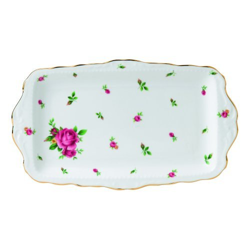 Rose Sandwich Tray (Royal Albert New Country Roses Formal Vintage Sandwich Tray, White by Royal Albert)
