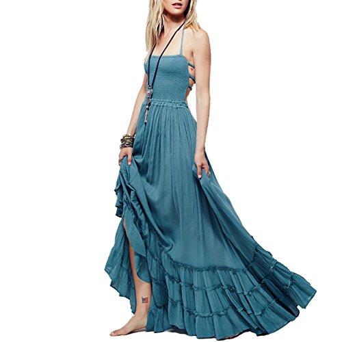 caa383d235c iShine Sommerkleid Damen A-Linie Kleid Lang Maxikleid Rückenfrei Abendkleid  Strandkleid Partykleid-BU-