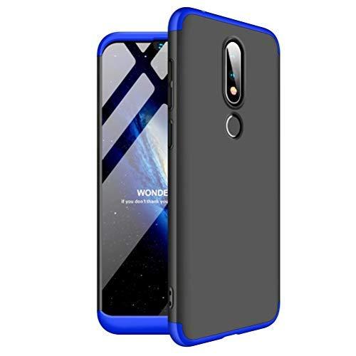 JINCHANGWU kompatibel mit Hülle für Nokia 6.1 (2018) Hülle 3 in 1 Rundum-Schutz Full Cover+Panzerglas Unbreakable Full Body Case Handy-Tasche Schale Handy-Hülle Blau Schwarz