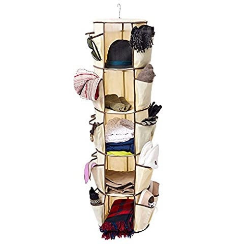 EZoware 5 Tier Carousel Closet Organiser Hanging Storage Rack w/ Multiple Pockets for Clothes, Belts, Scarves, Ties, Hand Bags, Shoes, Sandals, Heels - Beige