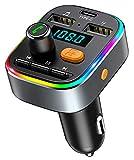 Bovon Transmetteur FM Bluetooth Voiture, [Charge de Type C] [8 LED Rétro-Éclairé] V5.0 Adaptateur Bluetooth Voiture, Kit Voiture Mains Libres sans Fil avec 2 Ports USB, Support Carte TF/Clé USB