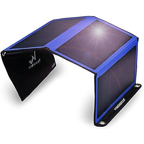 Cargador solar, powergreen® 21W portátil plegable Panel Solar con 2USB puertos para todos los 5V dispositivos móviles, Blue-21W