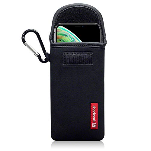 Phone XS / iPhone X Custodia, Shocksock Neoprene Custodia Sacchetto Manicotto con Carabiner per iPhone XS / iPhone X Custodia, Colore: Nero