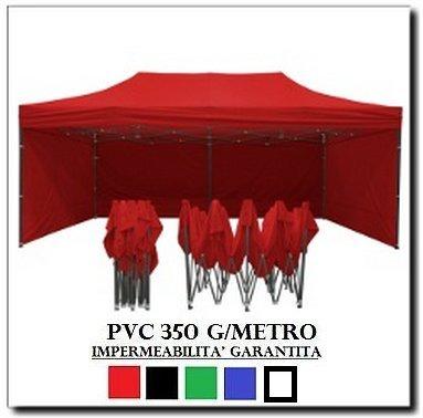 Gazebo pieghevole 3x6 rosso acciaio + 4 teli laterali pvc 350 g metro