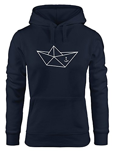 MoonWorks Hoodie Damen Schiffchen Origami Anker Seemann Schiff Sweatshirt Kapuze Kapuzenpullover Navy XL Damen-origami