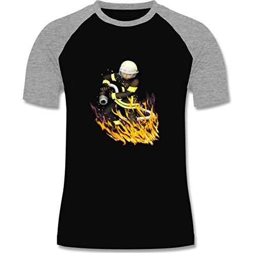 Feuerwehr - Cooler Feuerwehrmann - zweifarbiges Baseballshirt für Männer Schwarz/Grau Meliert