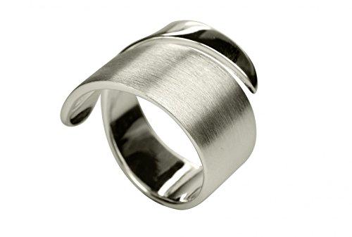 SILBERMOOS XL XXL Ringe in großen Größen Damen Ring offen diagonal Bandring spitz matt glänzend Größe 64, 66, 68, 70 Sterling Silber 925, Größe:70 (22.3)
