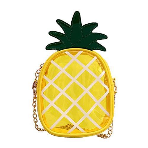 Qinlee Kinder Diagonale Umhängetasche Ananas Schultertaschen Mädchen Freizeit Daypack Transparent Handtasche (Gelb)