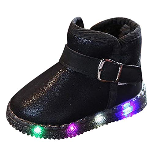 Botas de Nieve Bajos para Niños Niñas Pelo Invierno PAOLIAN Zapatos de Piel con Luces Bebés Niñas...